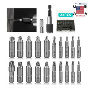 22Pcs Screw Extractor Set Removes Damaged Broken Bolts Stripped Screws Easy Out