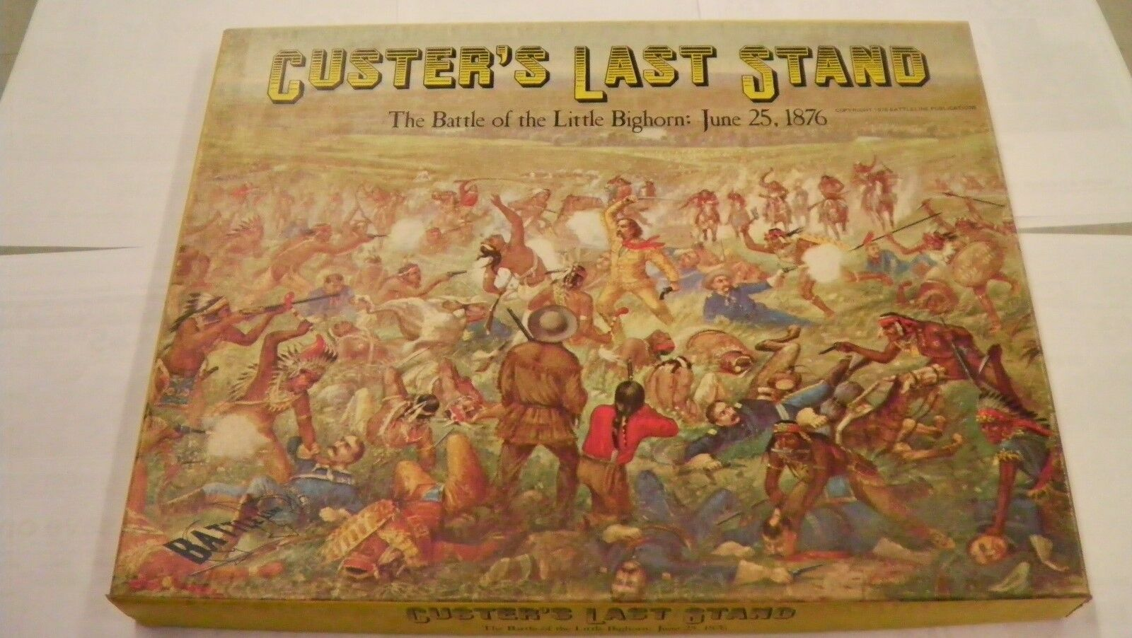 1976 CUSTERS LAST STAND BATTLE BATTLE BATTLE LITTLE BIGHORN JUNE 25 1876 COMPLETE WAR GAME 6c3b91