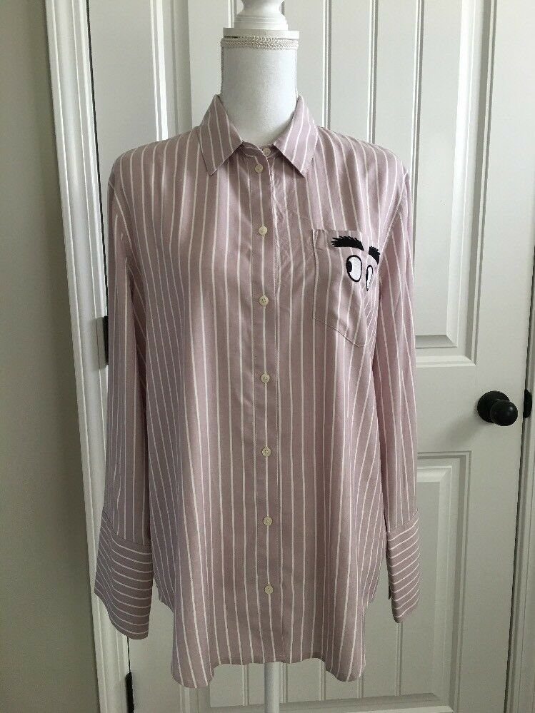 New Madewell Embroiderot Bristol Button-down Shirt  Soft Lilac Sz L H3268