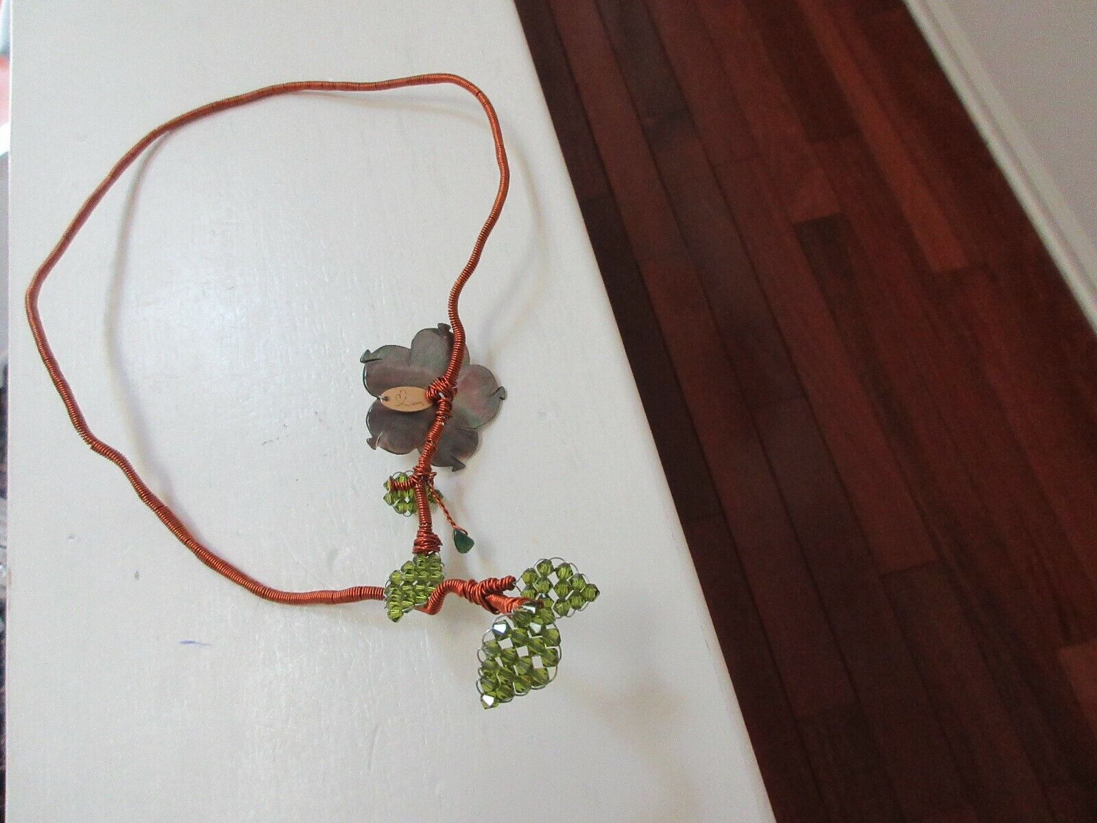 Wire Wrapped Frame Adjustable Cord Wraparound Choker ,