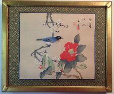 Vintage framed signed original Asian painting on silk bird flowering branch