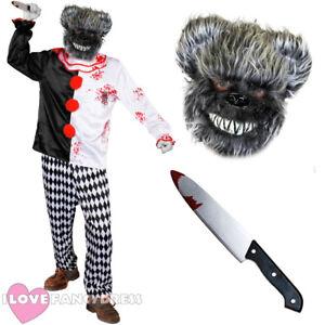 Deluxe Animale KILLER HORROR pagliaccio circo Costume Maschera e Coltello