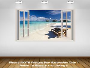 3D Window Effect Wall art Print Sticker Tropical Beach Scene Caribbean Picture 4