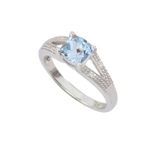 Sterling Silver .01ct Genuine Diamond Ring with 6mm Blue Topaz Split Shank