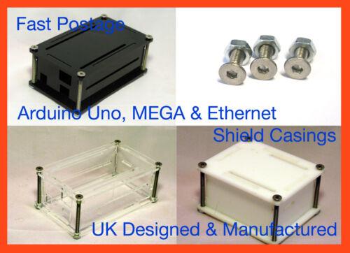 clear black white Arduino Case Enclosure Box UNO MEGA R3 Ethernet Shield
