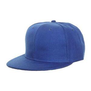 Image is loading Plain-Blue-Snapback-Flat-Peak-Baseball-Cap 0cbdd5e5dcb