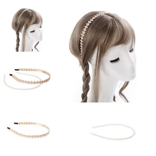 EG/_ LK/_ 2Pcs//Set Lace Heart Faux Pearls Kids Girls Hairband Headband Hair Access