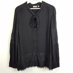 SUSSAN-Womens-Black-Blouse-Top-w-Lace-detail-Size-AU-18-or-US-14