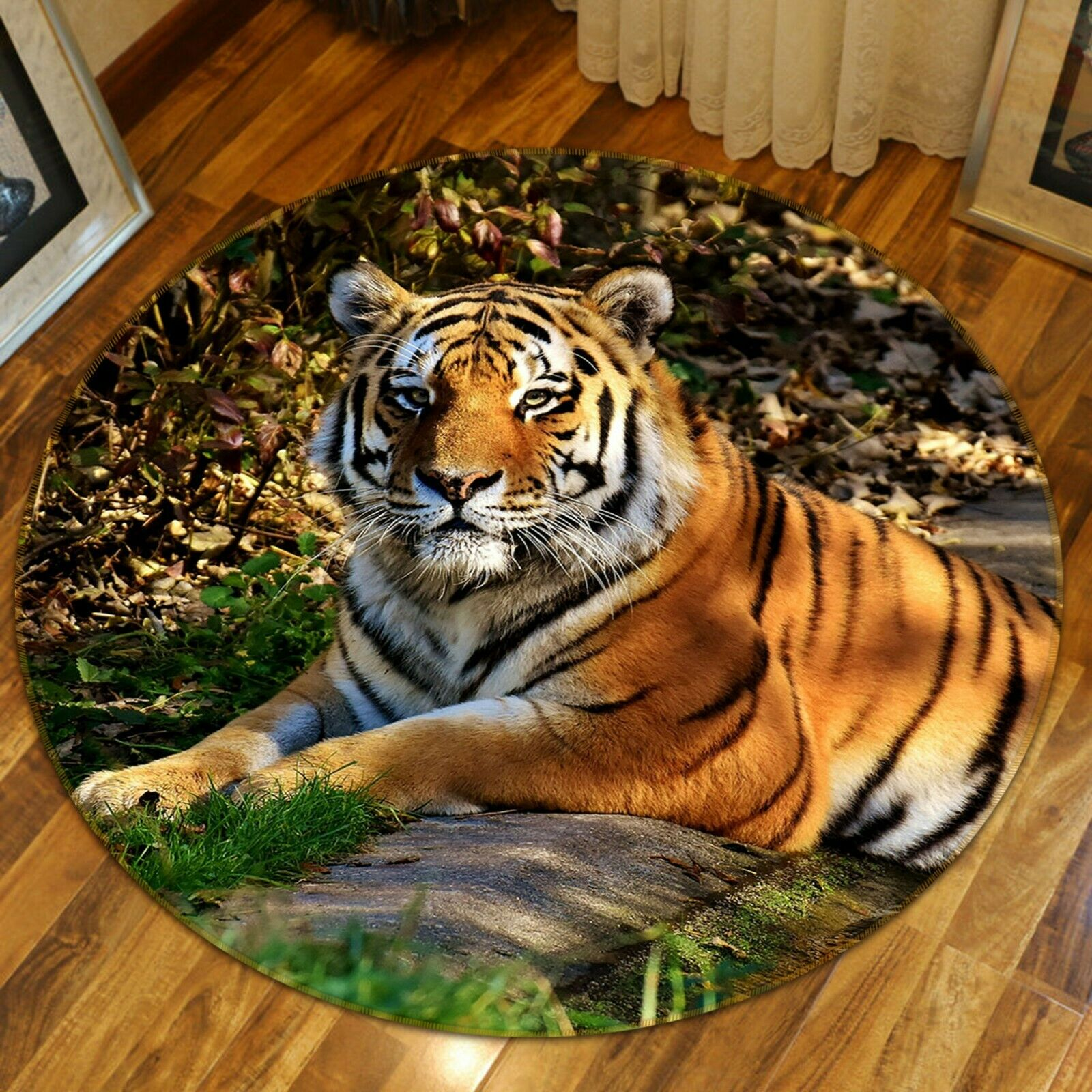 3D TIGER STONE C90 Animale tappetino antiscivolo tappeto rossoondo elegante Tappeto Wendy