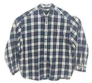 Eddie-Bauer-Travex-Blue-Flannel-Button-Up-Shirt-Mens-Plaid-Long-Sleeve-Size-3XL