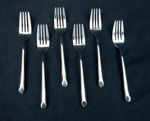 Towle-Silver-Wave-Set-of-6-Individual-Salad-Forks-Stainless-Flatware-T860-Plain