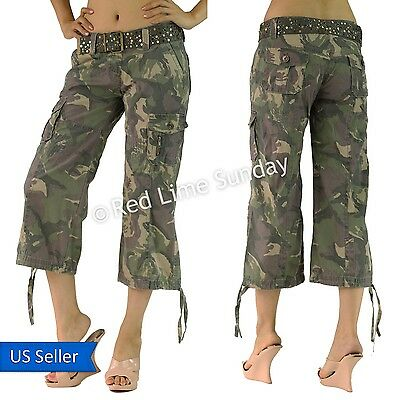 Women Camouflage Army Green Print Capri Cargo Wide Baggy Pants Bottom w/ Belt