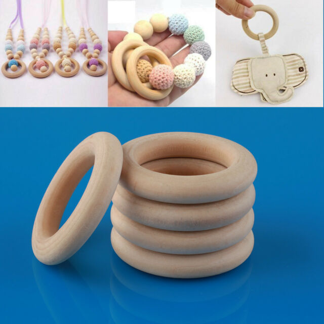 20 pcs Natural Untreated Plain Wooden Big Round Donut Ring Beads 55mm