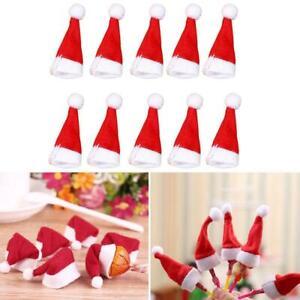 10-Mini-Santa-Claus-Christmas-Hats-Party-Xmas-Holiday-Nice-Lollipop-Decor-F2R2