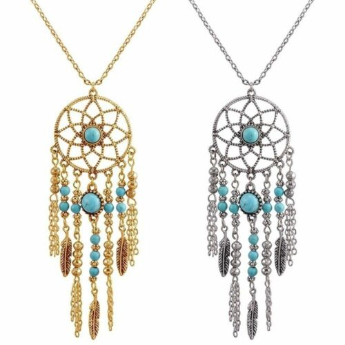 Vintage Feather Sweater Chain Charm Jewelry Long Tassel Pendants Necklace