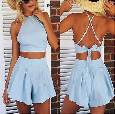 NEW Hot Women Backless Two-piece Playsuit Shorts Bodycon Jumpsuit&Romper Trouser