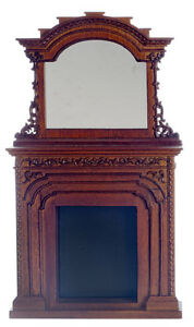 DOLLHOUSE MINIATURECarved Chester Walnut Fireplace w/Mirror 1:12 PLATINUM COLLEC