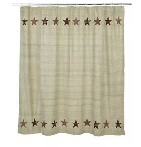 Image Is Loading ABILENE STAR Shower Curtain Appliqued Stars Country Rustic