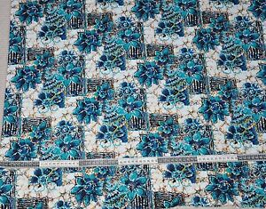 Printed Cotton Dress Fabric Batik Style Blues Greens Ochres 17M - <span itemprop=availableAtOrFrom>Oakham, United Kingdom</span> - Printed Cotton Dress Fabric Batik Style Blues Greens Ochres 17M - Oakham, United Kingdom