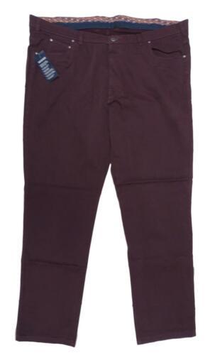 NUOVO Uomo Pantaloni stretch in Aubergine misure grandi 64,66 breve dimensioni 30,33 60,66