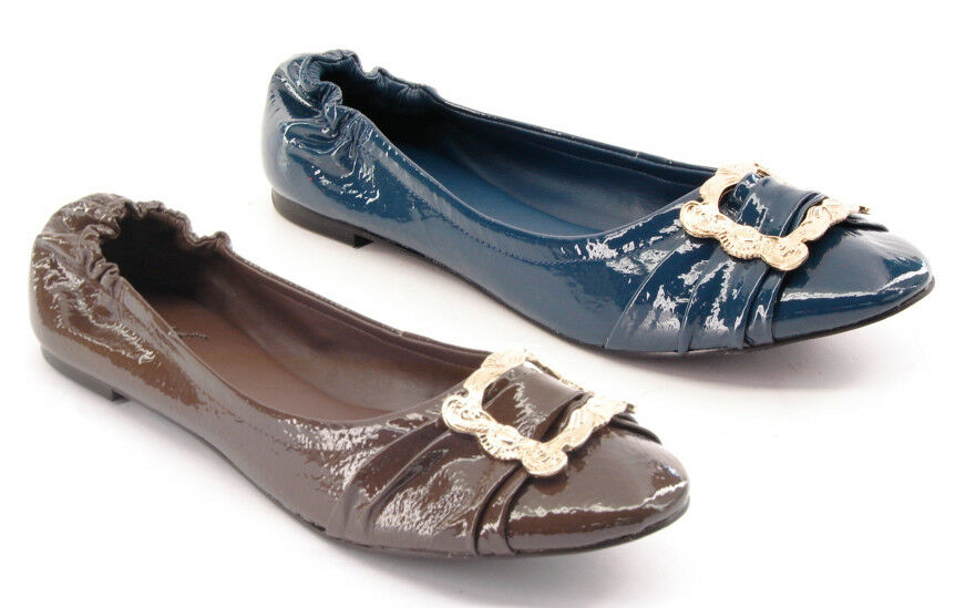New CARLOS SANTANA Donna marrone Blue Patent Pelle Flat Slip On Shoe