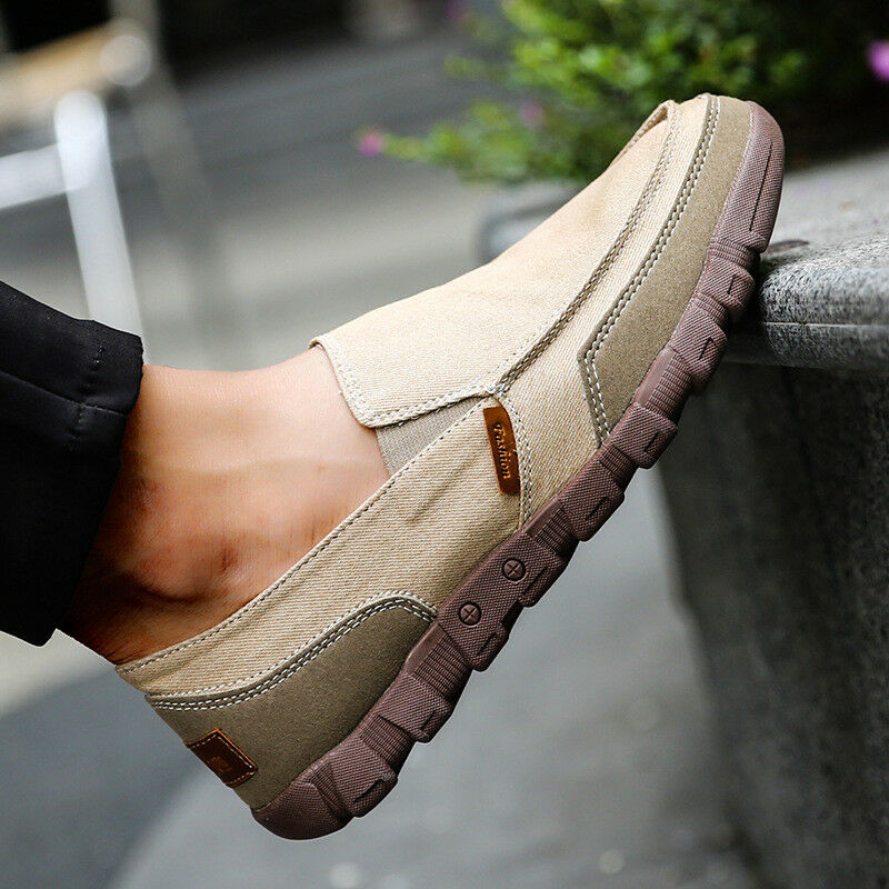Mens Canvas shoes Casual Flats Driving Boat Slip On Loafers Breathable Comfy Hot