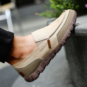 Fashion-Men-039-s-Casual-Shoes-Slip-Comfy-Flats-Canvas-On-Loafers-Breathable