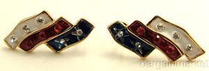 Red-White-Blue-Enamel-amp-Crystal-USA-Flag-Post-Earrings