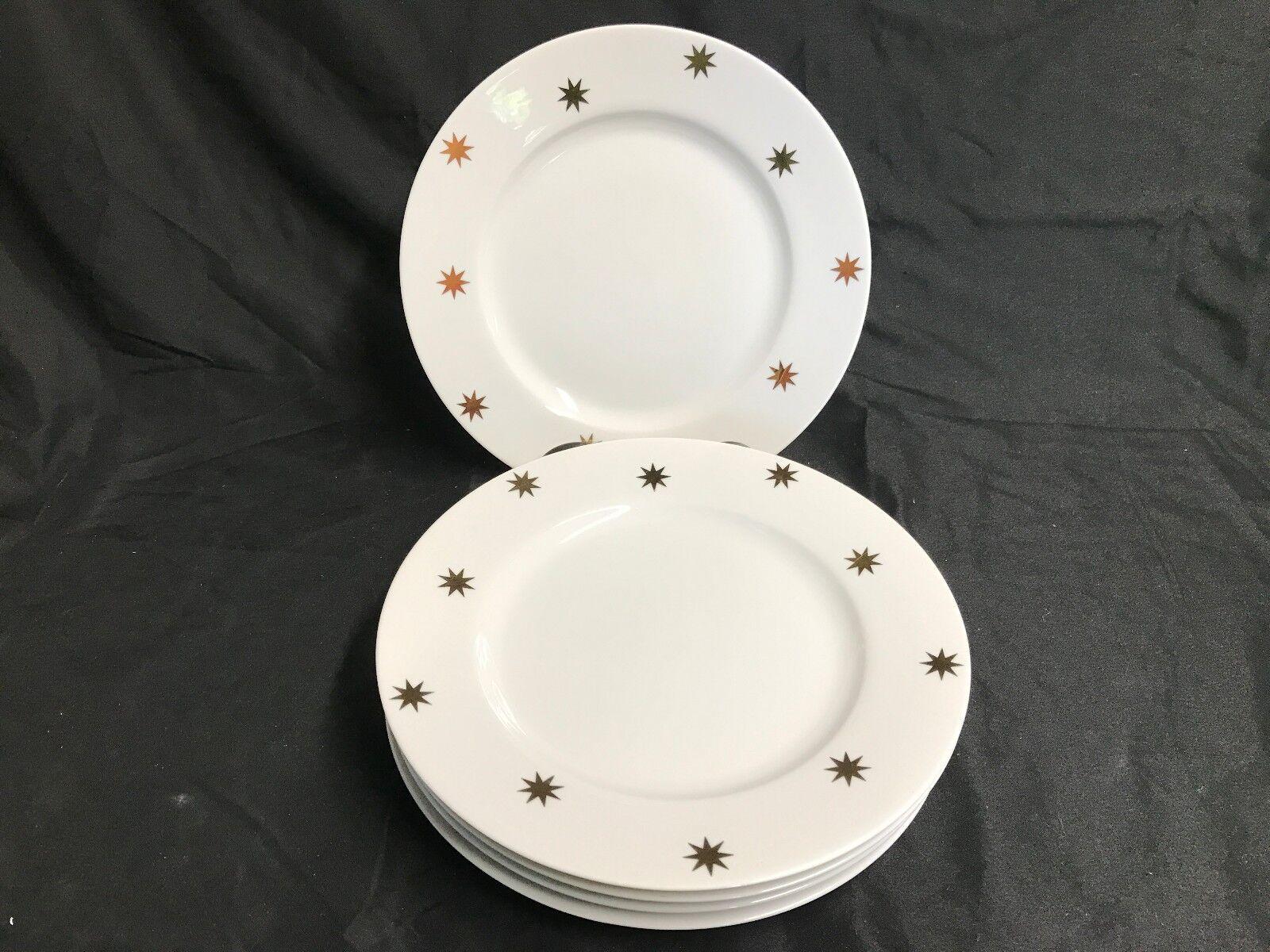 Pier 1   Gold STARS   on Weiß  Set of 5  Dinner Plates  10 1 2