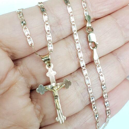 """tri color 14k Gold Jesus crucifix cross pendant charm 18/"""" chain set necklace"""