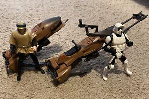 Star-Wars-POTF-Tonka-Speeder-Bike-Set-of-2-Luke-amp-Biker-Scout-Endor-loose