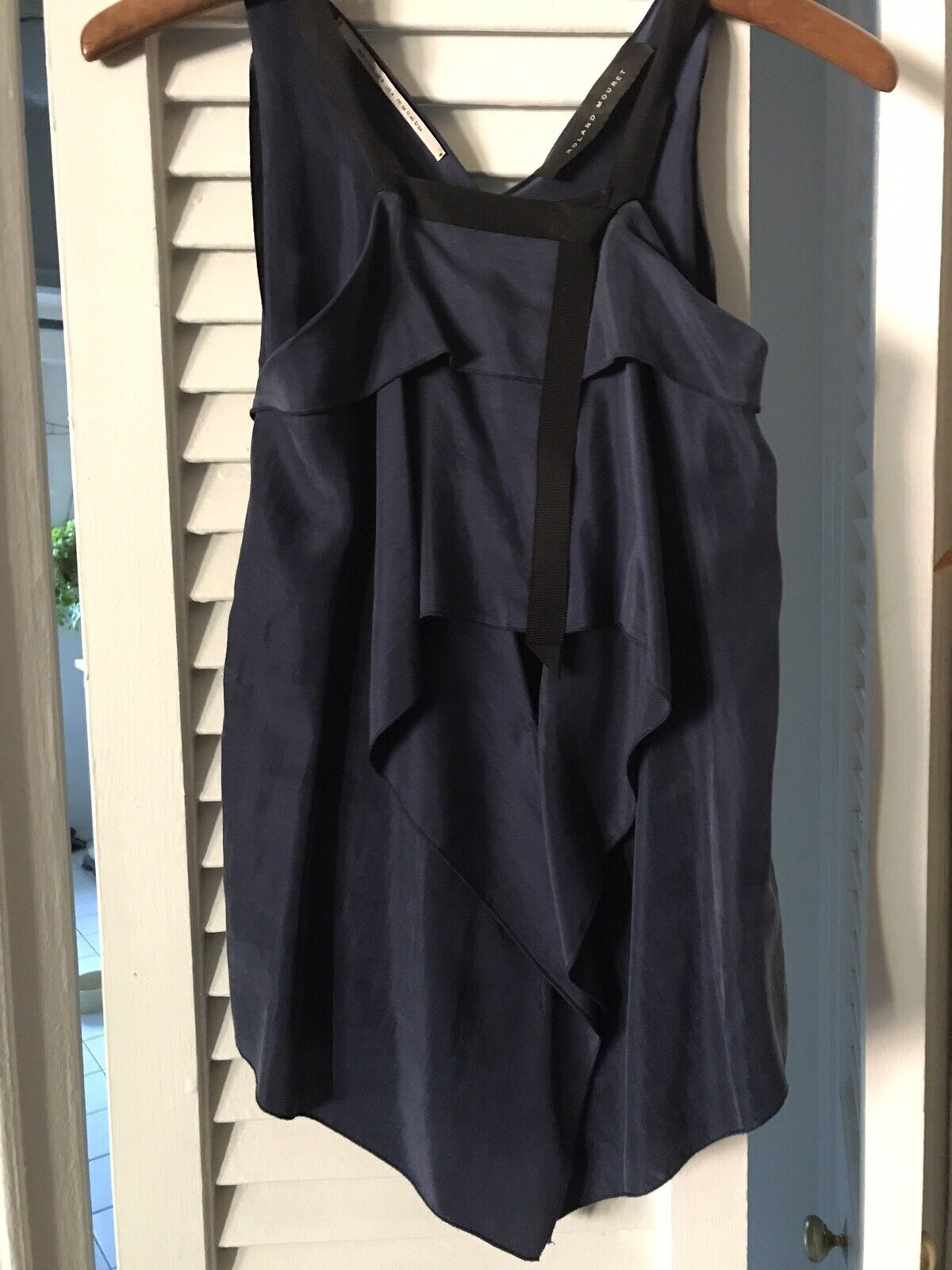 ROLAND MOURET Navy Silk Sleeveless Shirt Top Blouse US 4