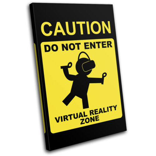 Virtual Reality VR Warning Room Gaming SINGLE CANVAS WALL ART Picture Print