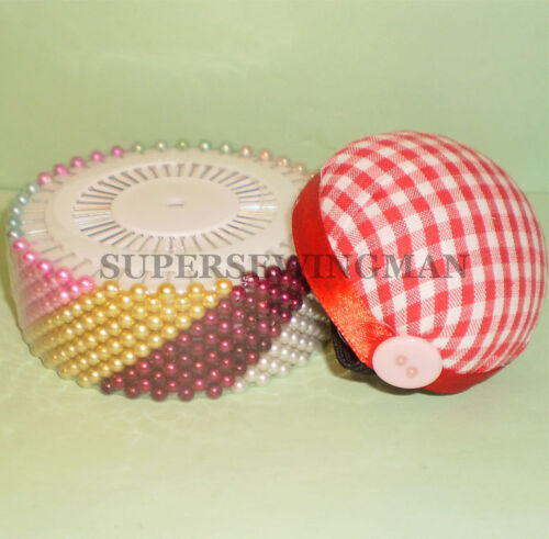 480  Assorted color sewing faux pearl round head w// pin cushion corsage pins
