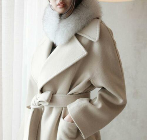 Womens Long Loose Coat Wool Blend Cashmere Outwear Slim Fit Thicken Vintage