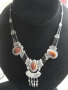 14 handmade necklace with glass bugle beads and 3 beautiful polished stones