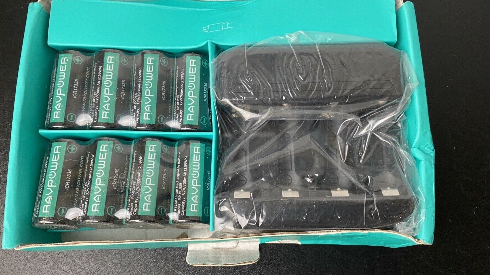 8 x Ravpower RCR123A Rechargeable Batteries with USB Charger Compartment
