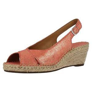 421eefb9e267e Clarks 'Petrina Leigh' Ladies Coral Suede Slingback Wedge Peep Toe ...