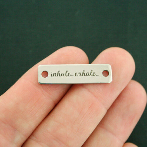 Inhale Exhale Connector Charm Stainless Steel Bar CON107