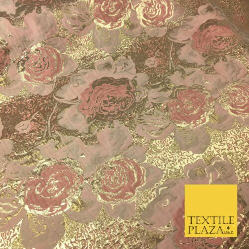BLUSH PINK Luxury Floral Gold Metallic Rose Brocade Dress Fabric Fancy 1369