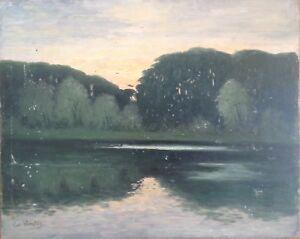 Kurt-wunschig-Artprice-Berlin-view-grunewaldsee-Shore-Bay-evening-mood