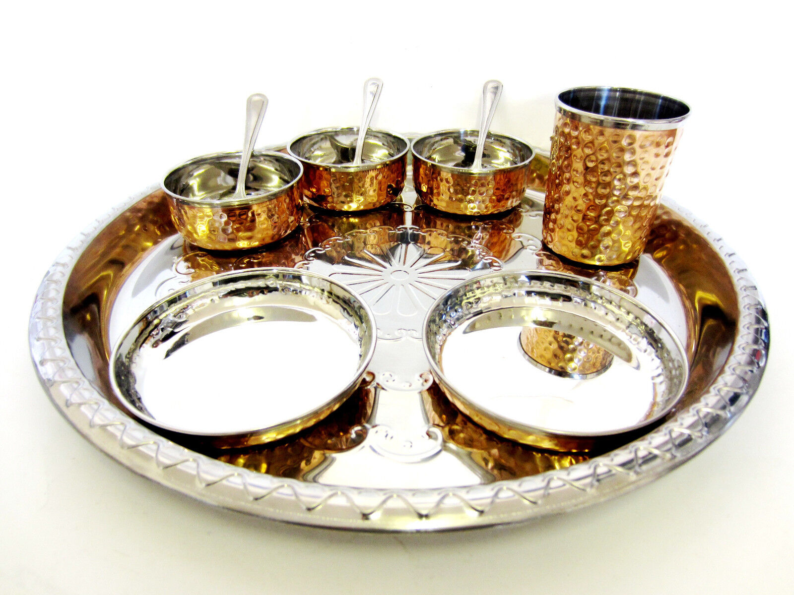 10 PC Indiano & Rame Acciaio Inox Set da cena cibo Thali Curry