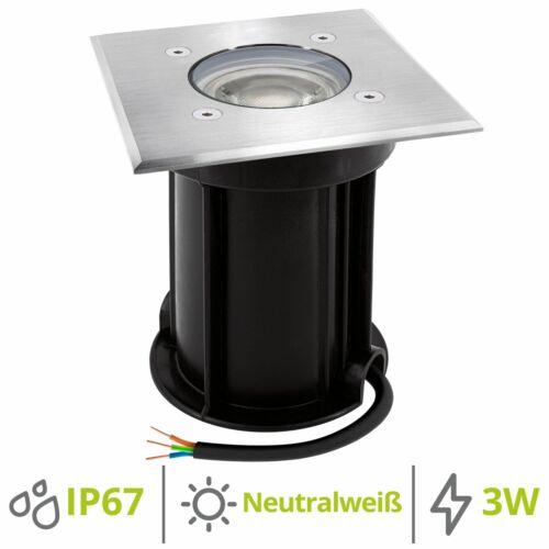 Bodeneinbaustrahler BOQU inkl LED GU10 3W neutralweiß Bodenleuchte IP67 eckig