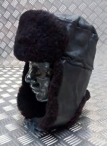 Genuine-Vintage-Russian-Soviet-USSR-Cold-Weather-Cossack-Hat-Ushanka-Leather