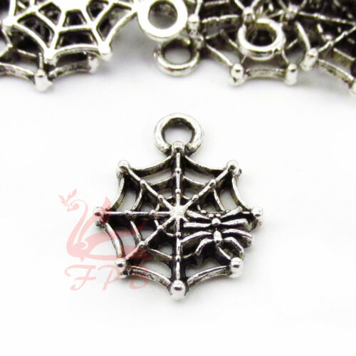 Spider Cobweb 17mm Antique Silver Plate Halloween Charms SC0043446-10//20//40PCs