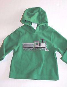 1c5299c939a Gymboree Baby Boy 12-24 Months Snow Tracks Green Hoodie Train Fleece ...