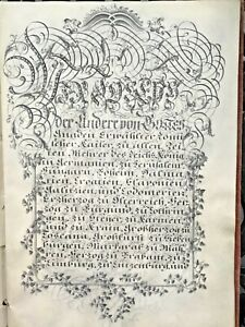 18c-Handwritten-Patent-Nobility-Grant-Arms-Manuscript-Calligraphy-Signed-Emperor