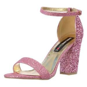 c7b8dbd6bcf Image is loading Womens-Strappy-Glitter-Party-Block-Heel-Ankle-Strap-