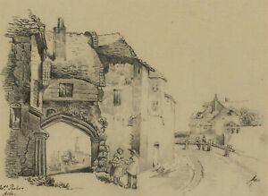 Early-20th-Century-Graphite-Drawing-Rural-Village-street-Scene