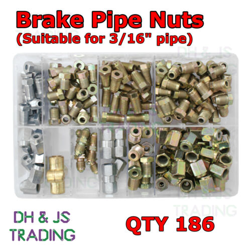 Connectors Qty 186 Copper Most Popular Assorted Box of Brake Pipe Nuts